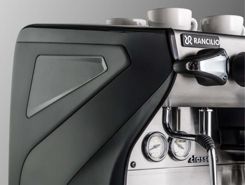 This is a closeup image of the side panel in the color Anthracite Black and the steam C-Lever on the Classe 5 espresso machine.