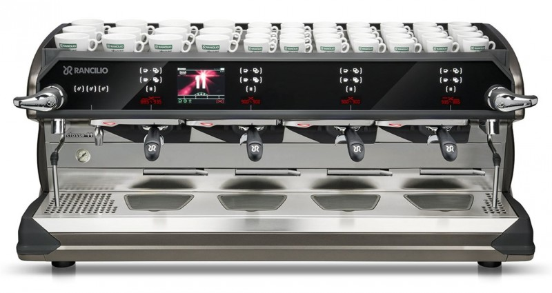 This image is a front view of the Rancilio Classe 11 Xcelsius tall in frozen bronze, 4 groups with a taller group area and volumetric dosing controls.