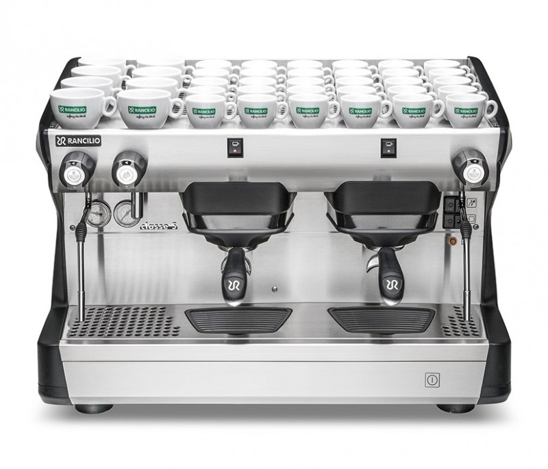 This image is a front view of the Rancilio Classe 5 S espresso machine in Anthracite Black, with 2 groups at traditional height with semi-automatic dosing controls.