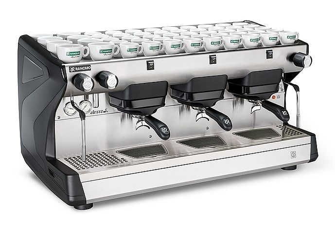 This image is a front-side view of the Rancilio Classe 5 S espresso machine in Anthracite Black, with 3 groups at traditional height with semi-automatic controls.