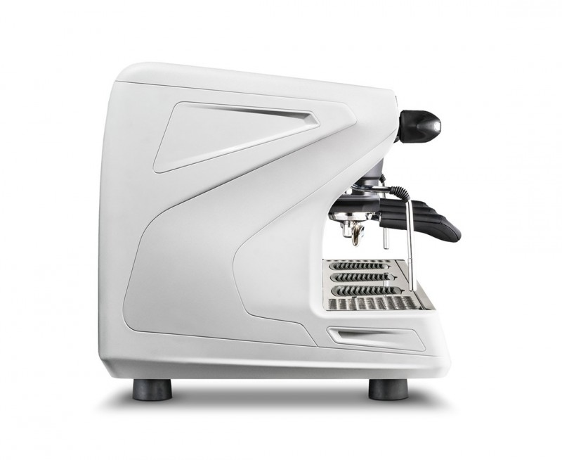 This image is a side view of the Rancilio Classe 5 USB espresso machine in Ice White, with 3 groups at traditional height with volumetric dosing.