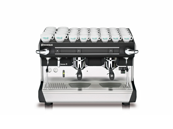 This image is a front view of the Rancilio Classe 9 S espresso machine in 2 groups at traditional height with semi-automatic dosing controls.