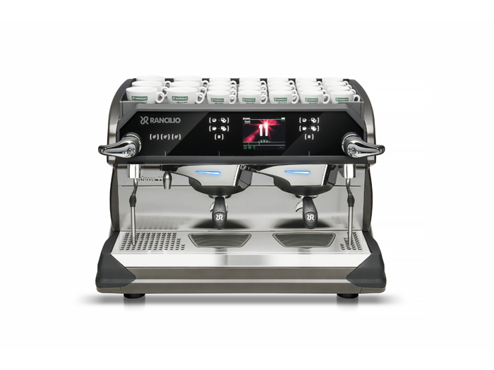 This image is a front-side view of the Rancilio Classe 11 USB espresso machine in Frozen Bronze with 2 groups at traditional height and volumetric dosing controls.