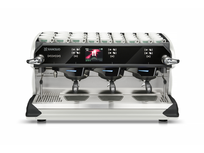 This image is a front-side view of the Rancilio Classe 11 USB espresso machine in pearl with 3 groups at traditional height and volumetric dosing controls.