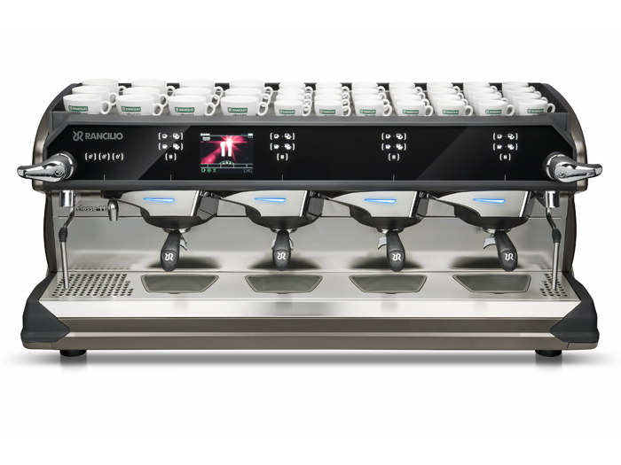 This image is a front-side view of the Rancilio Classe 11 USB espresso machine in Frozen Bronze with 4 groups at traditional height and volumetric dosing controls.