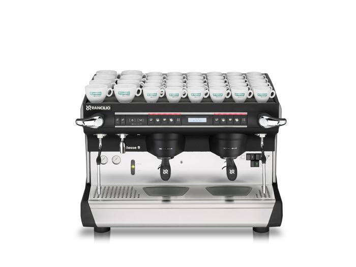 This image is a front view of the Rancilio Classe 9 Xcelsius, 2 groups at traditional height and volumetric dosing controls.