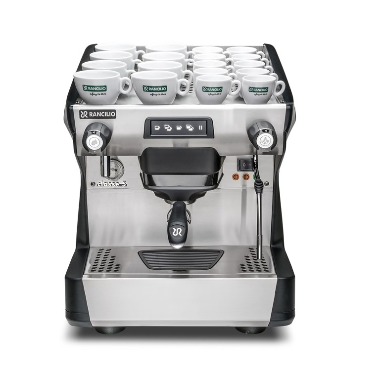 This image is a front view of the Rancilio Classe 5 USB espresso machine in Anthracite Black, with 1 group at traditional height with volumetric dosing controls.