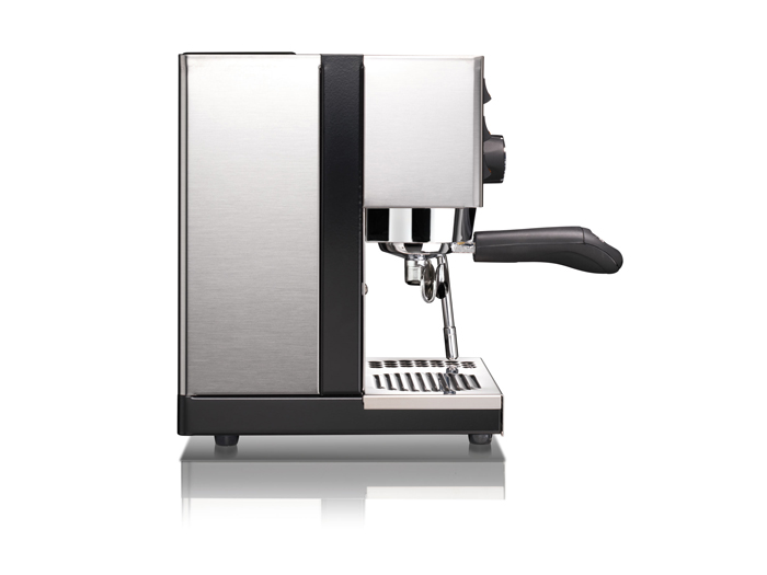 This image is a side view of the Rancilio Sylvia home espresso machine, 1 group at traditional height, with semi-automatic dosing controls.