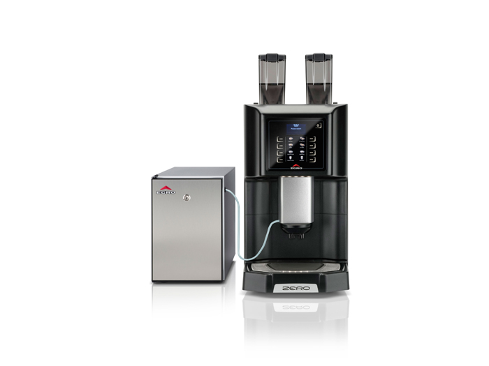 This image is a front view of the Egro ZERO Quick Milk espresso machine, 1 group with adjustable height, automatic 1-step dosing controls and quick milk fridge attached.