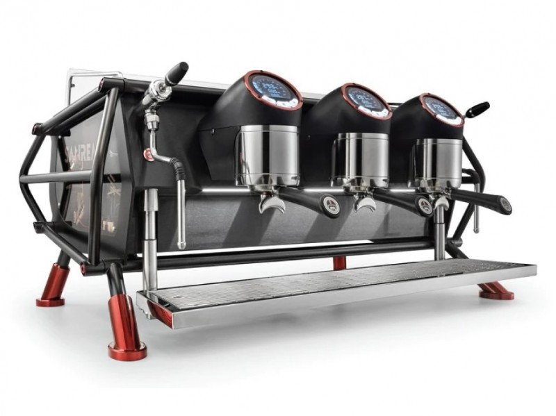 Front-side image of the Sanremo Cafe Racer three group espresso machine, in the customization color 'naked,' with volumetric dosing and precision capabilities.