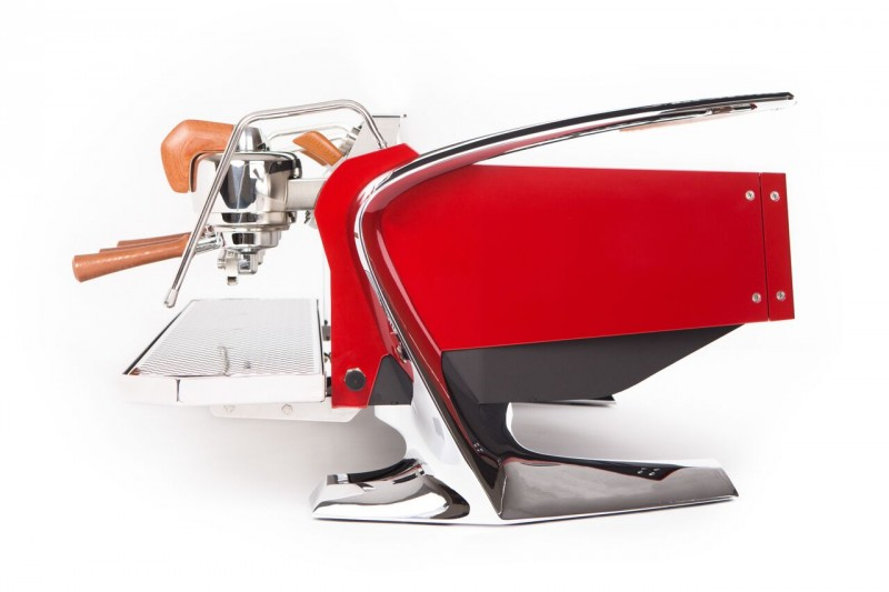 This image is a side view of the Slayer Steam X in crimson red, with dura-tex accents, 3 groups at traditional height and manual dosing controls.
