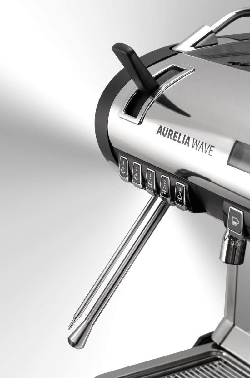 A closeup image of the cool touch steam wand on the Aurelia Wave T3