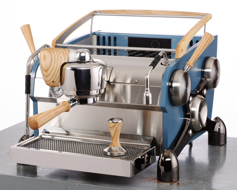 Slayer Espresso 1 Group, Body Powder Coated Blue, X-Legs Plated Black Nickel, Ash Wood Accents