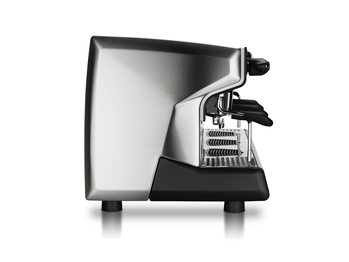 This image is a side view of the Rancilio Classe 9 Xcelsius, 3 groups at traditional height and volumetric dosing controls.
