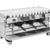 This image is a front-side view of the Rancilio Specialty RS1 3 group espresso machine in Stainless Steel, with adjustable drip tray for varied brew group height and volumetric dosing controls.